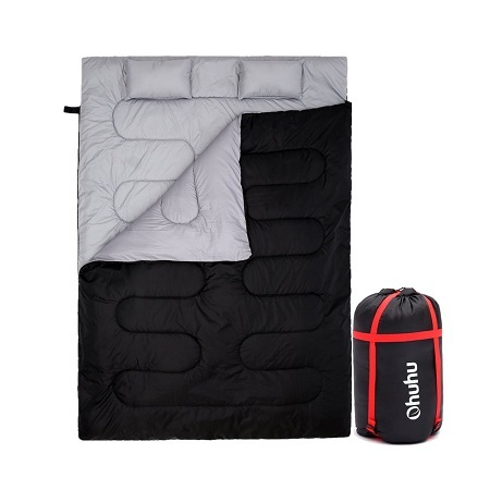 Ohuhu Double Sleeping Bag with 2 Pillows and a Carrying Bag for Camping