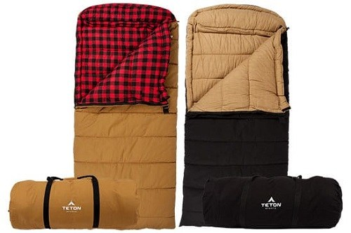 Teton Sleeping Bag Black And Plaid Brown